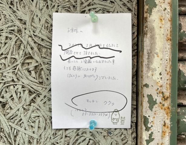 吉祥寺の「キッチンククゥ」閉店情報