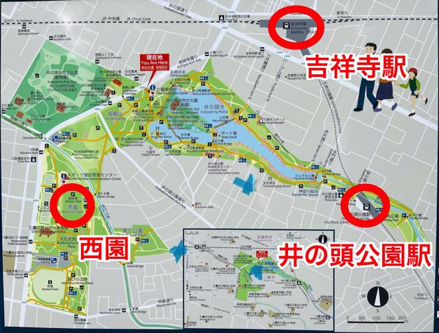 井の頭公園のマップ