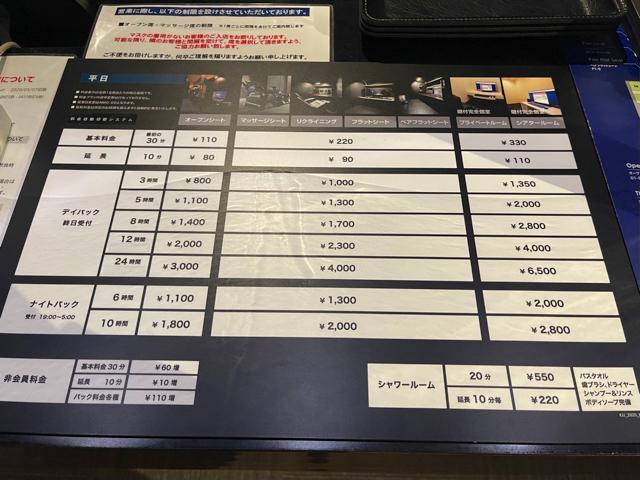 BAGUS(バグース)吉祥寺店のネットカフェ(漫画喫茶)の料金