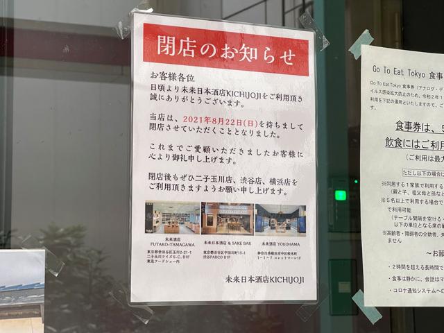 未来日本酒店 KICHIJOJI閉店